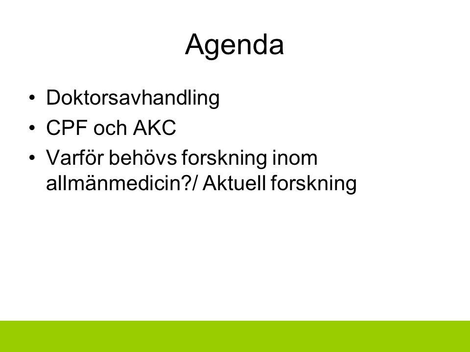 Agenda Doktorsavhandling CPF och AKC