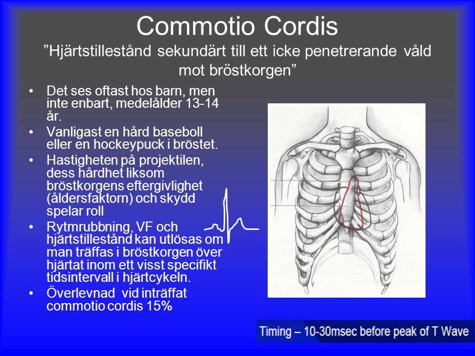 Commotio Cordis Hjärtstillestånd sekundärt till ett icke penetrerande våld mot bröstkorgen