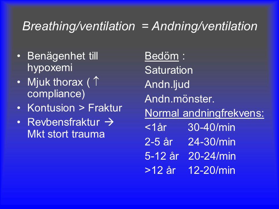 Breathing/ventilation = Andning/ventilation