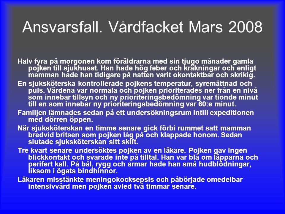Ansvarsfall. Vårdfacket Mars 2008