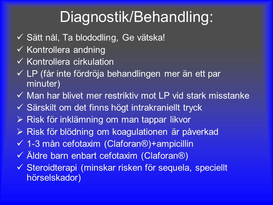 Diagnostik/Behandling: