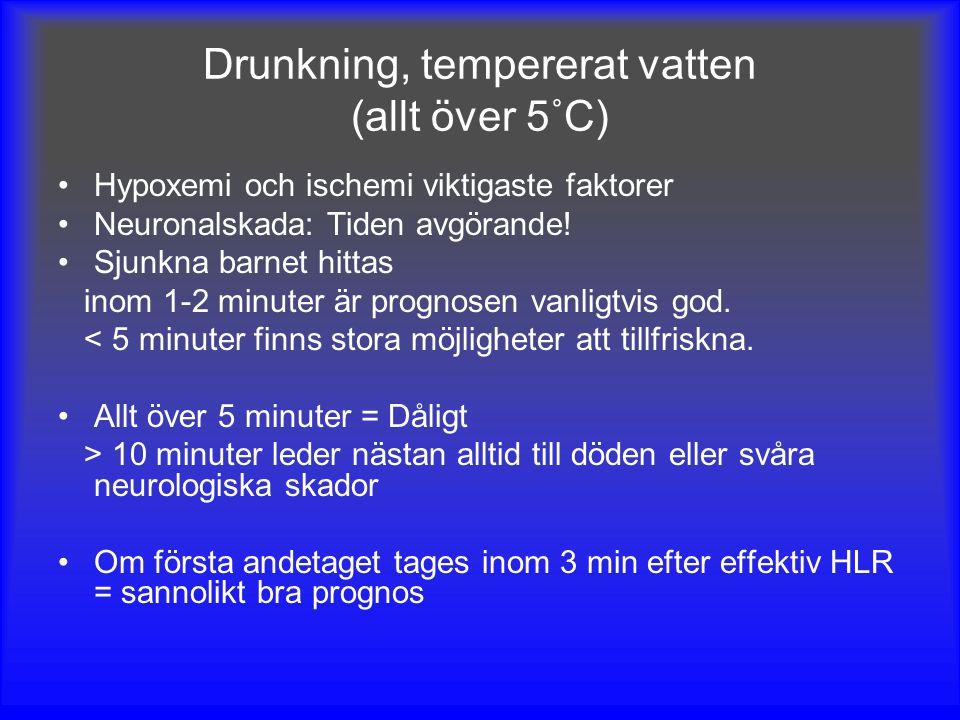 Drunkning, tempererat vatten (allt över 5˚C)