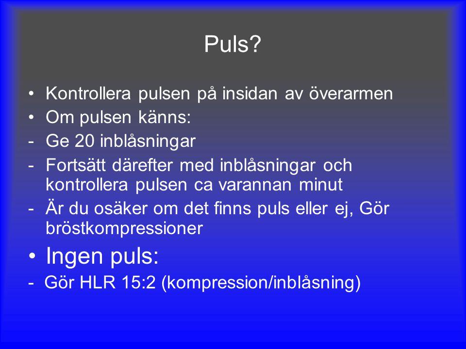 Puls Ingen puls: Kontrollera pulsen på insidan av överarmen