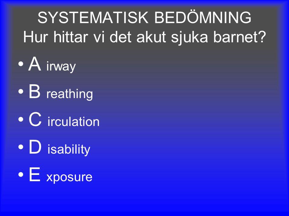 SYSTEMATISK BEDÖMNING Hur hittar vi det akut sjuka barnet