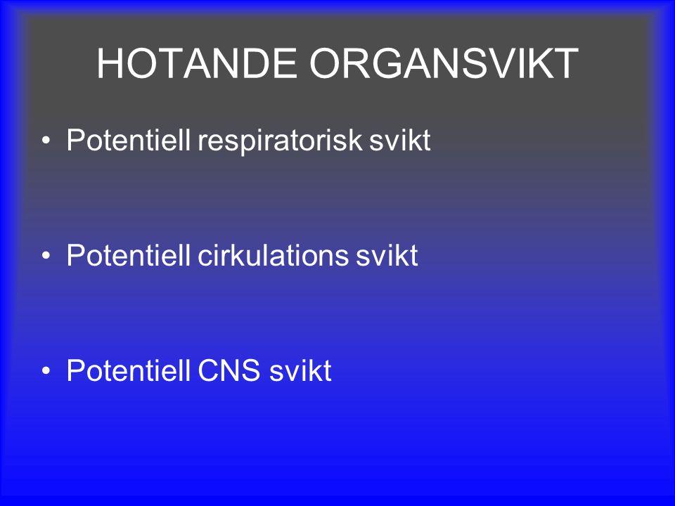 HOTANDE ORGANSVIKT Potentiell respiratorisk svikt