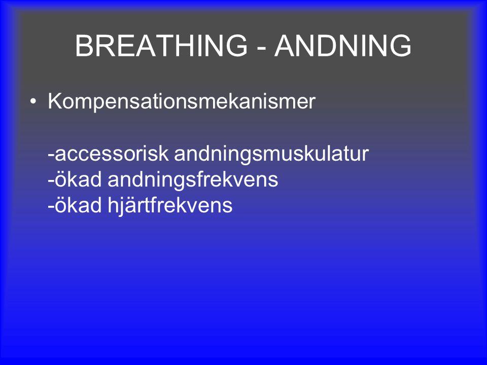 BREATHING - ANDNING Kompensationsmekanismer -accessorisk andningsmuskulatur -ökad andningsfrekvens -ökad hjärtfrekvens.