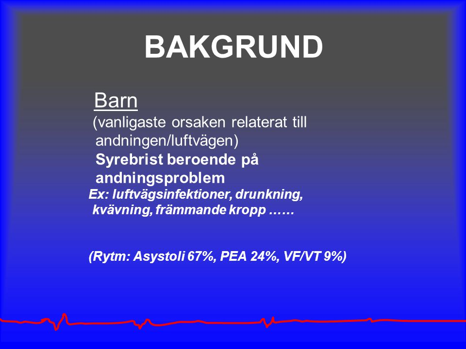 BAKGRUND andningen/luftvägen) Syrebrist beroende på andningsproblem