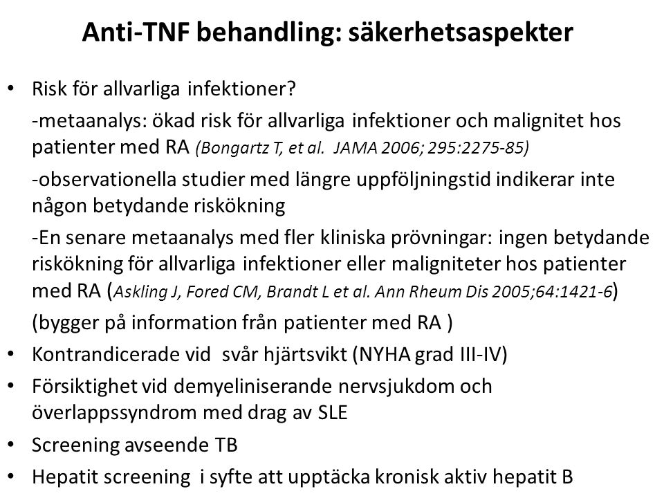 Anti-TNF behandling: säkerhetsaspekter