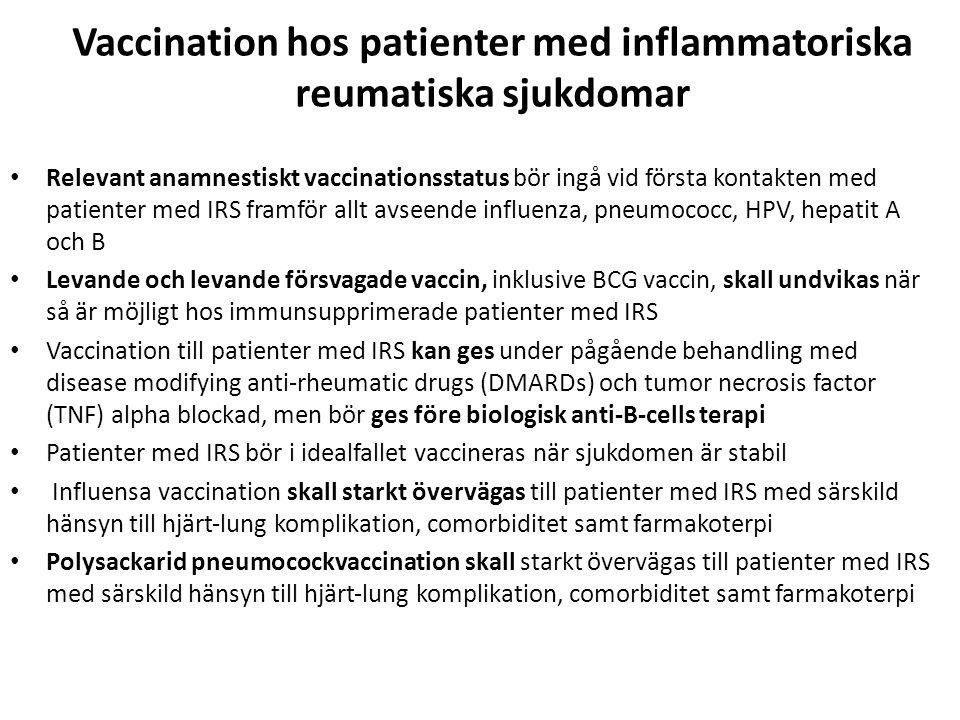 Vaccination hos patienter med inflammatoriska reumatiska sjukdomar