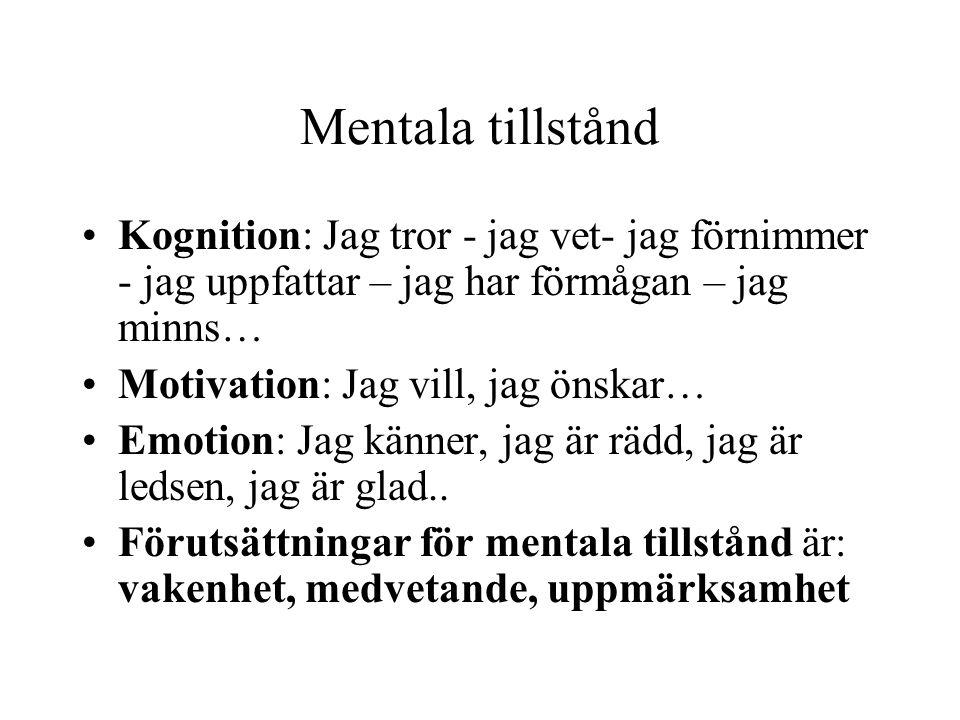Mentala tillstånd Kognition: Jag tror - jag vet- jag förnimmer - jag uppfattar – jag har förmågan – jag minns…