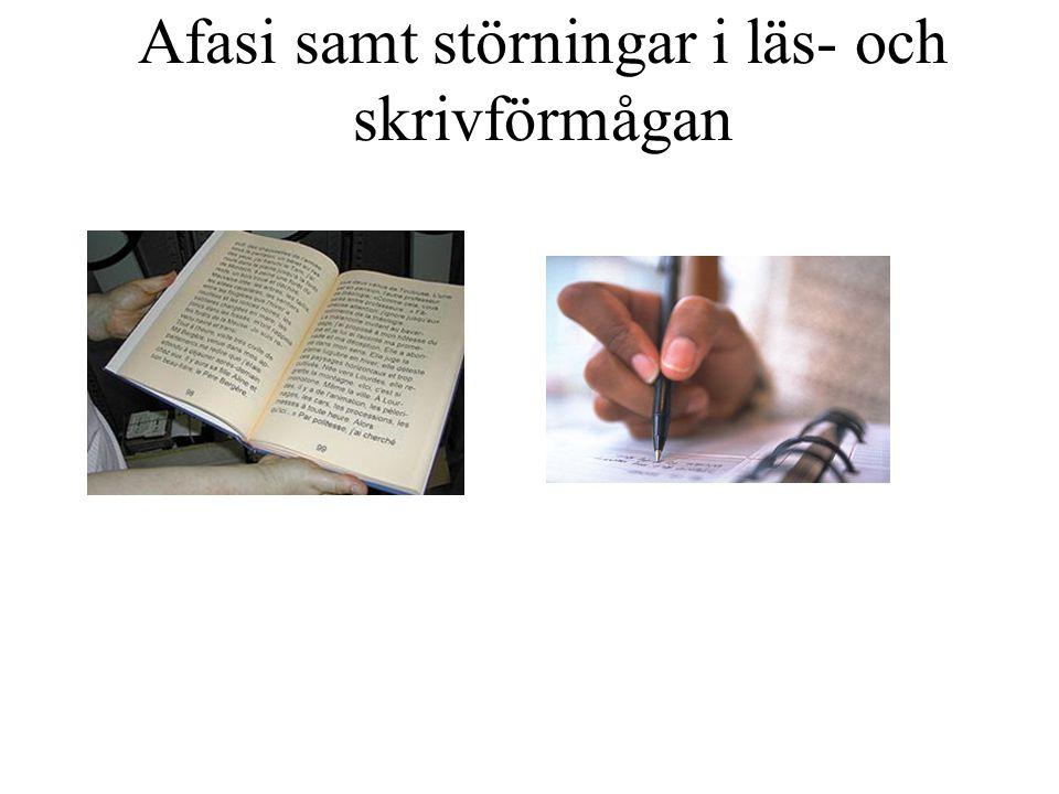 Afasi samt störningar i läs- och skrivförmågan
