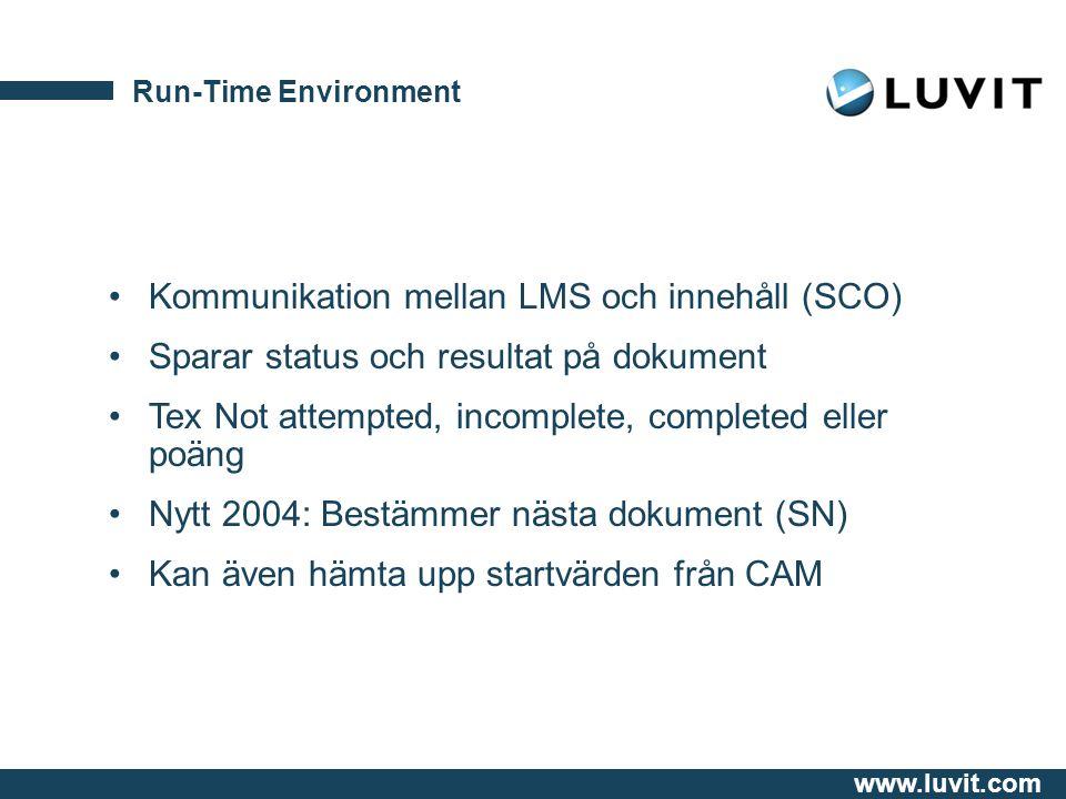 Kommunikation mellan LMS och innehåll (SCO)