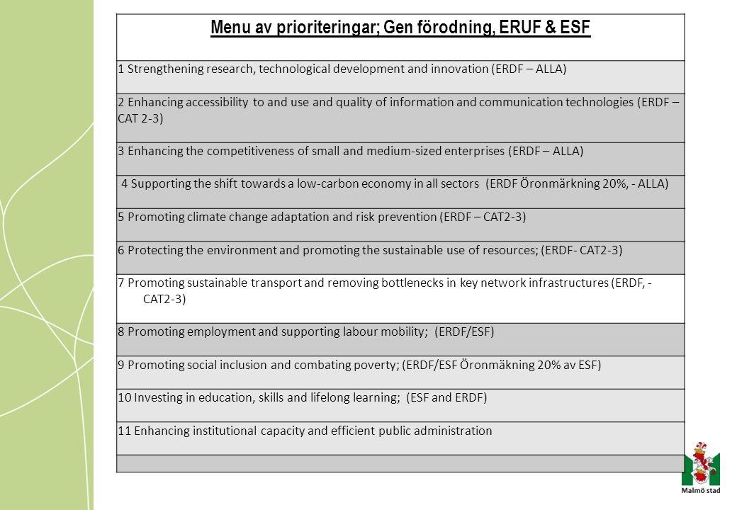 Menu av prioriteringar; Gen förodning, ERUF & ESF