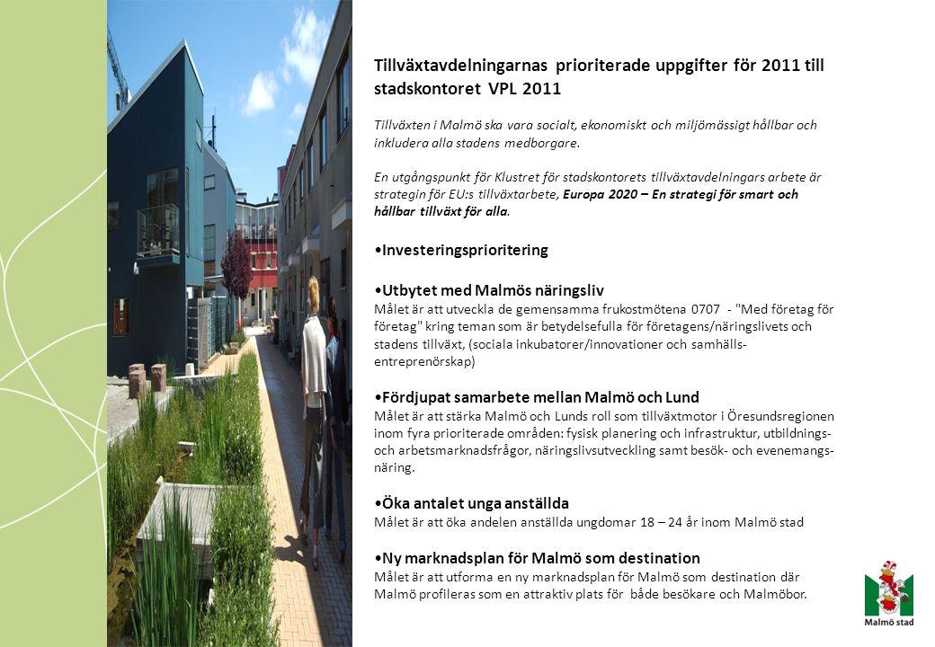 Tillväxtavdelningarnas prioriterade uppgifter för 2011 till stadskontoret VPL 2011