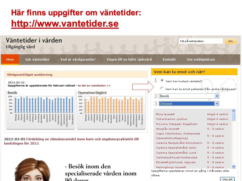 Här finns uppgifter om väntetider: http://www.vantetider.se
