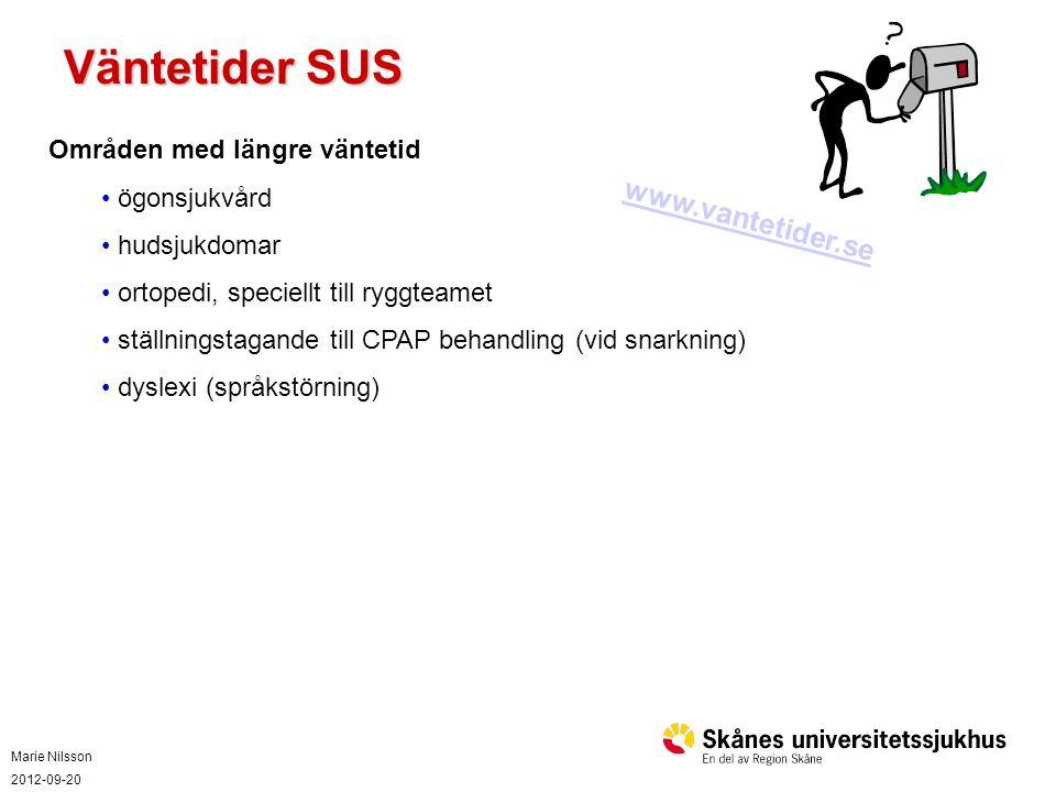 Väntetider SUS www.vantetider.se Områden med längre väntetid
