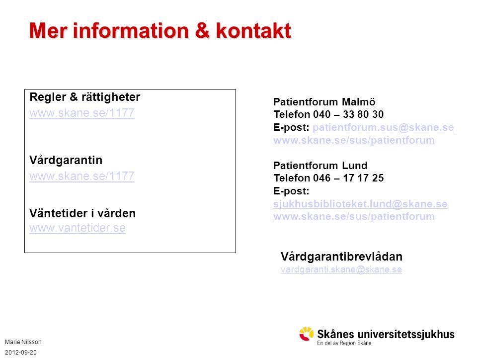 Mer information & kontakt