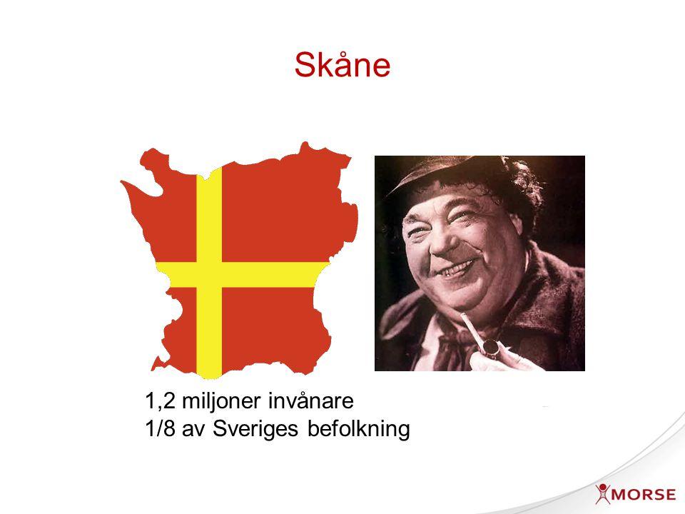 Skåne 1,2 miljoner invånare 1/8 av Sveriges befolkning