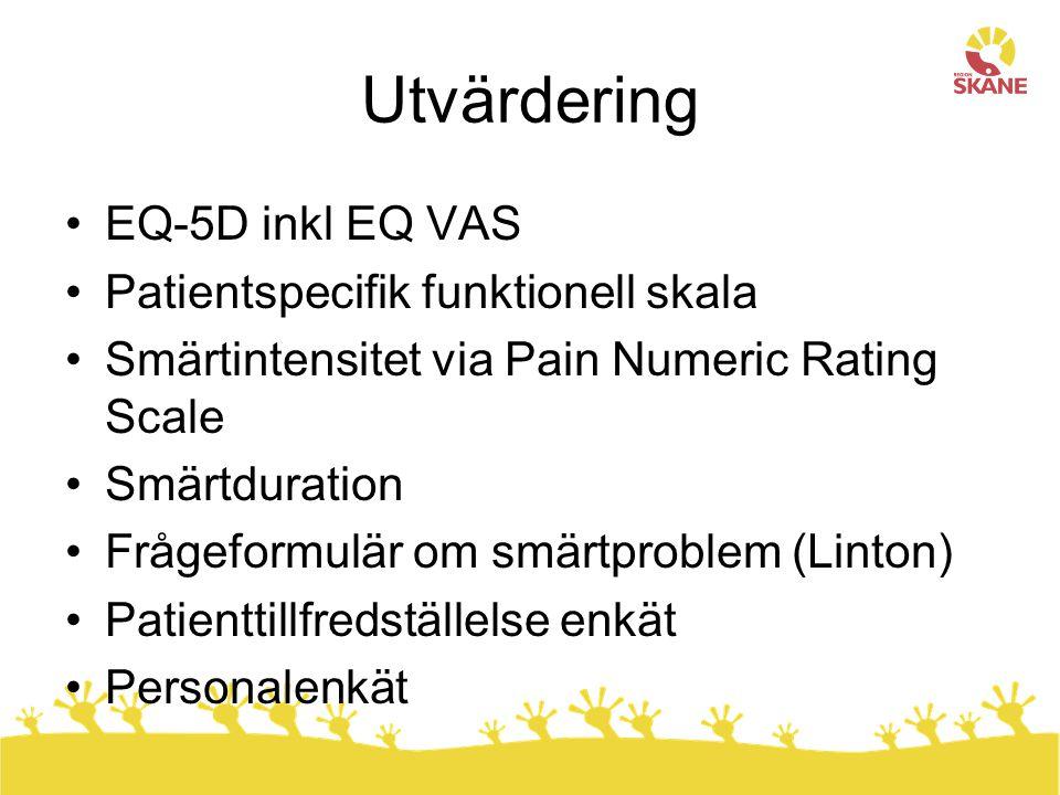 Utvärdering EQ-5D inkl EQ VAS Patientspecifik funktionell skala