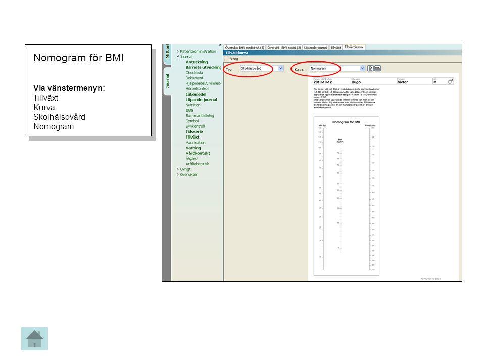 Nomogram för BMI Via vänstermenyn: Tillväxt Kurva Skolhälsovård