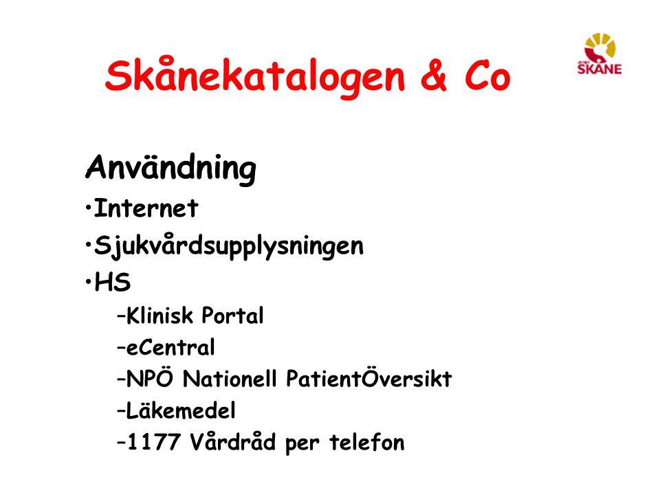 Skånekatalogen & Co Användning Internet Sjukvårdsupplysningen HS