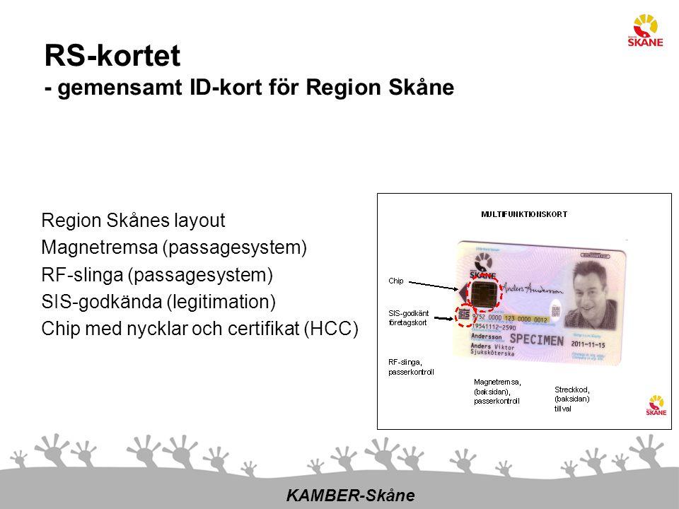 RS-kortet - gemensamt ID-kort för Region Skåne Region Skånes layout