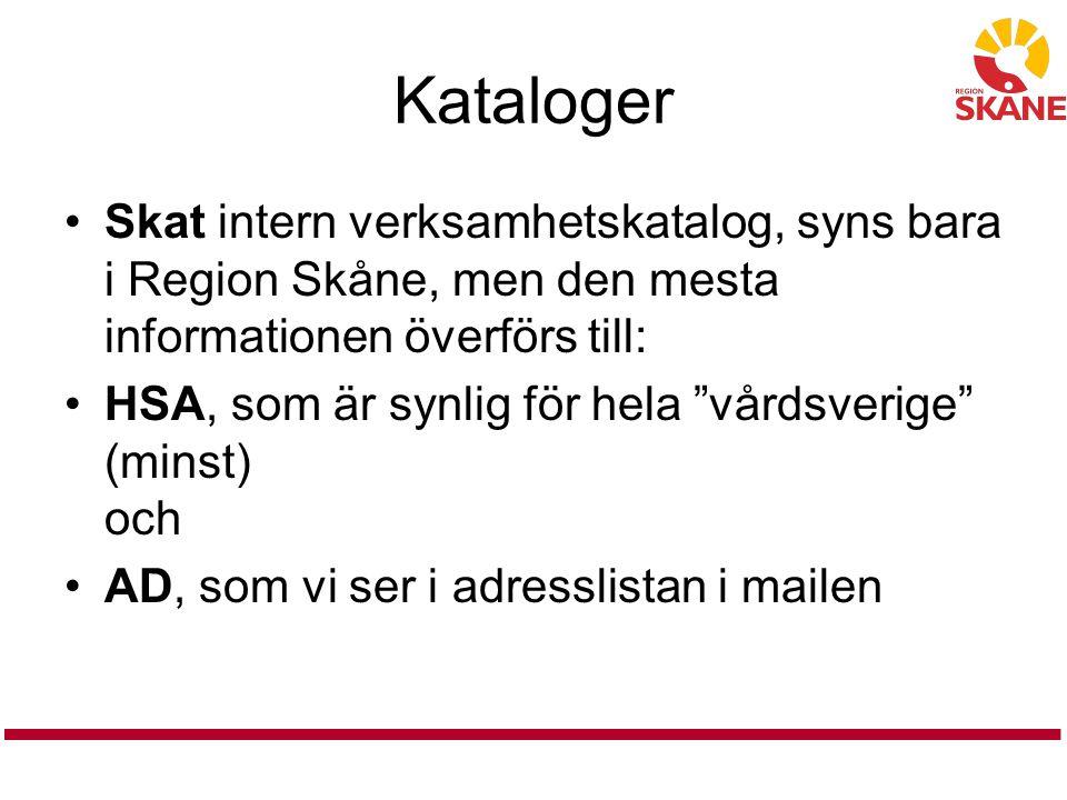 Kataloger Skat intern verksamhetskatalog, syns bara i Region Skåne, men den mesta informationen överförs till:
