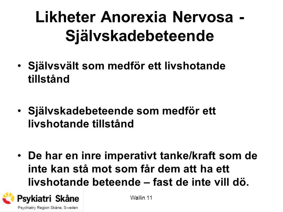 Likheter Anorexia Nervosa - Självskadebeteende