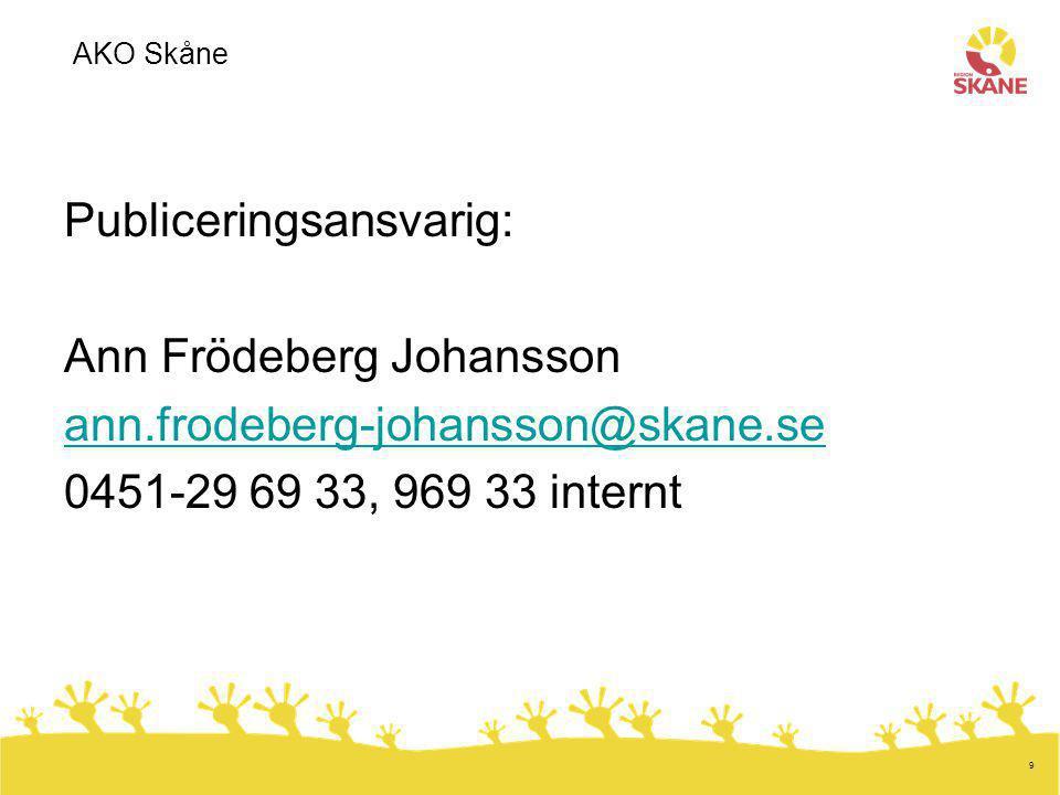Publiceringsansvarig: Ann Frödeberg Johansson