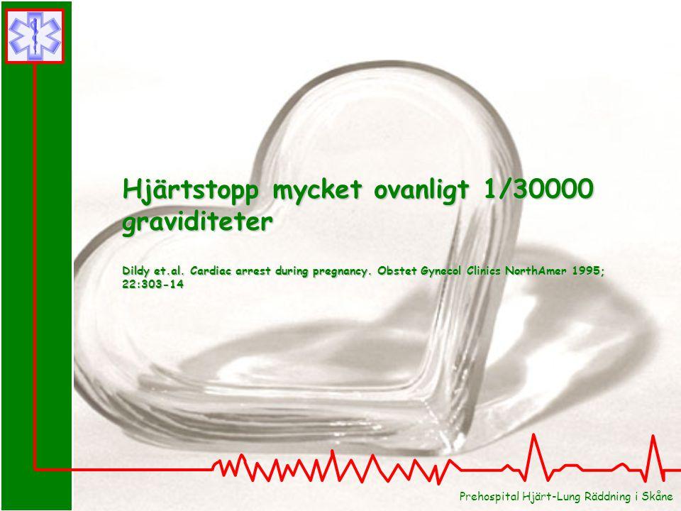 Hjärtstopp mycket ovanligt 1/30000 graviditeter
