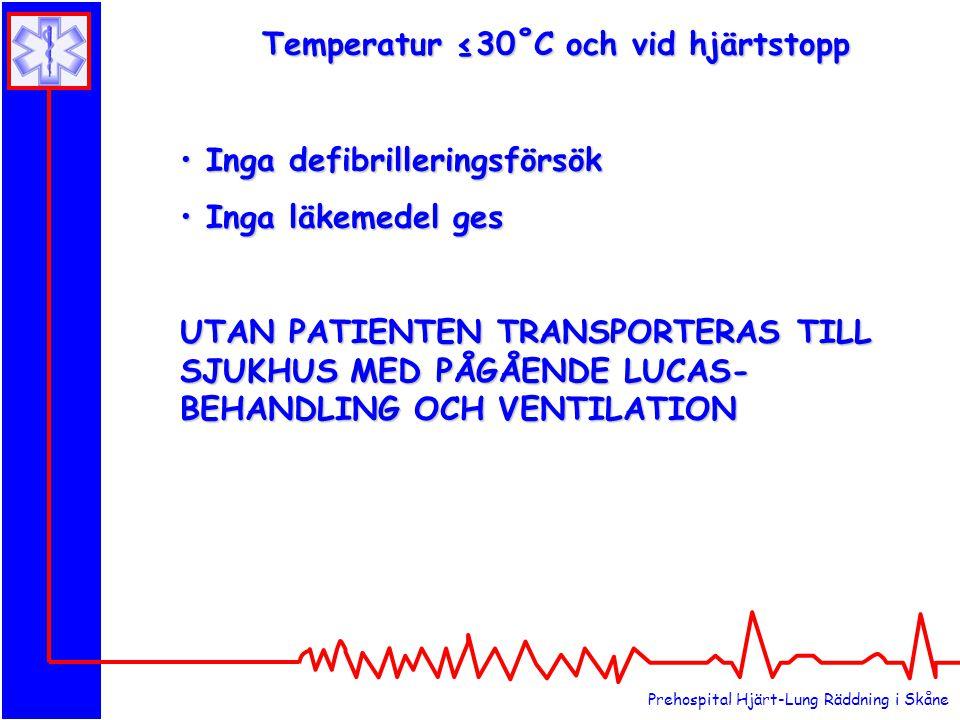 Temperatur ≤30˚C och vid hjärtstopp