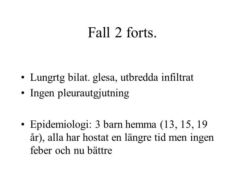 Fall 2 forts. Lungrtg bilat. glesa, utbredda infiltrat