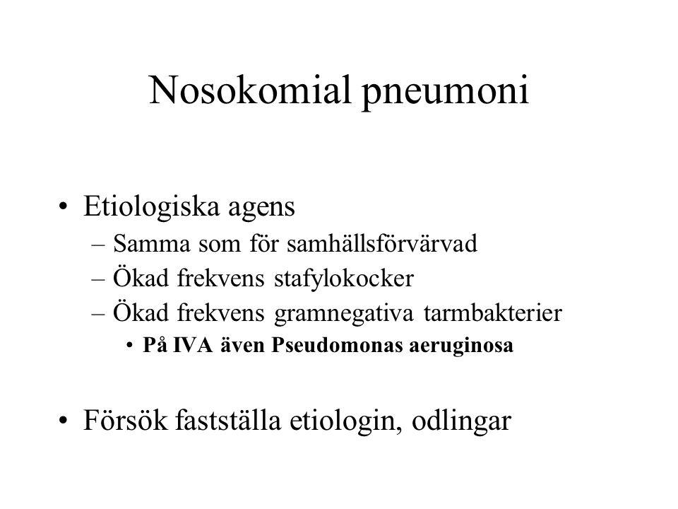 Nosokomial pneumoni Etiologiska agens