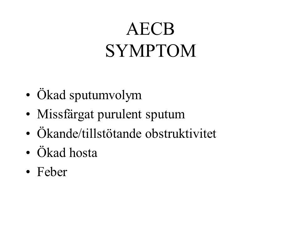 AECB SYMPTOM Ökad sputumvolym Missfärgat purulent sputum