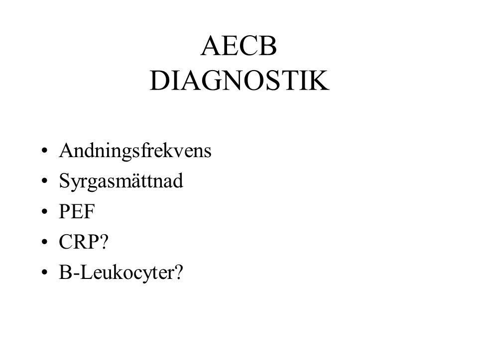 AECB DIAGNOSTIK Andningsfrekvens Syrgasmättnad PEF CRP B-Leukocyter