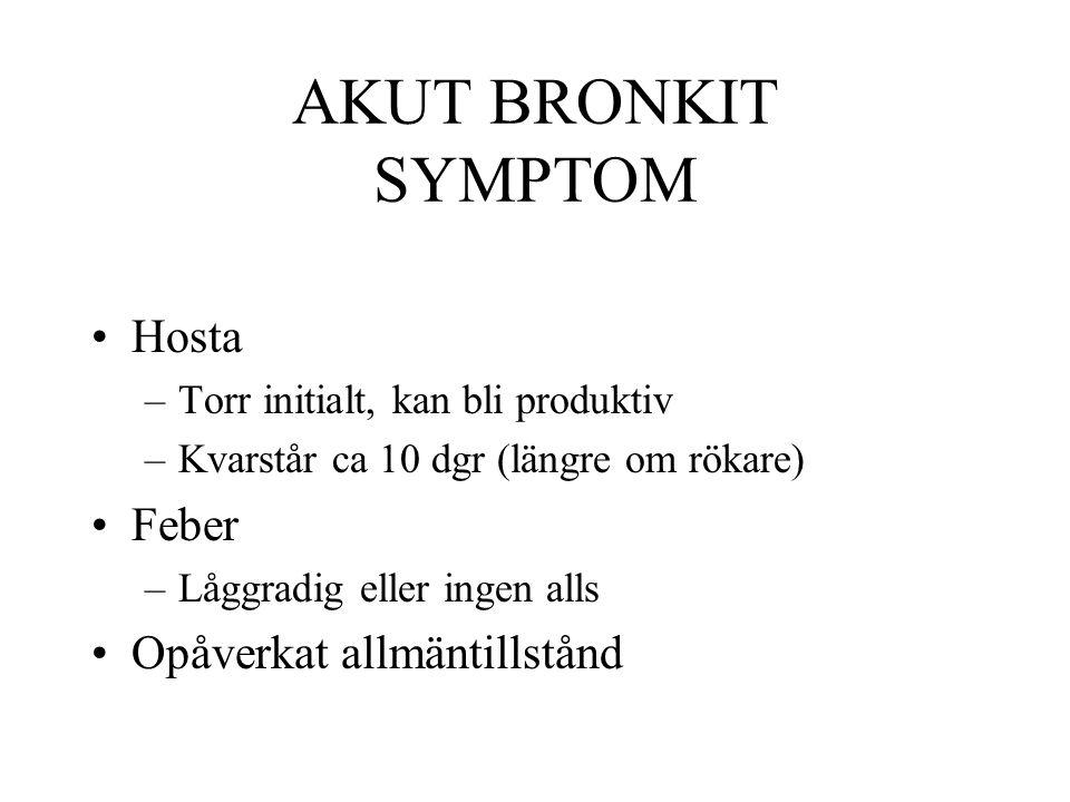 AKUT BRONKIT SYMPTOM Hosta Feber Opåverkat allmäntillstånd