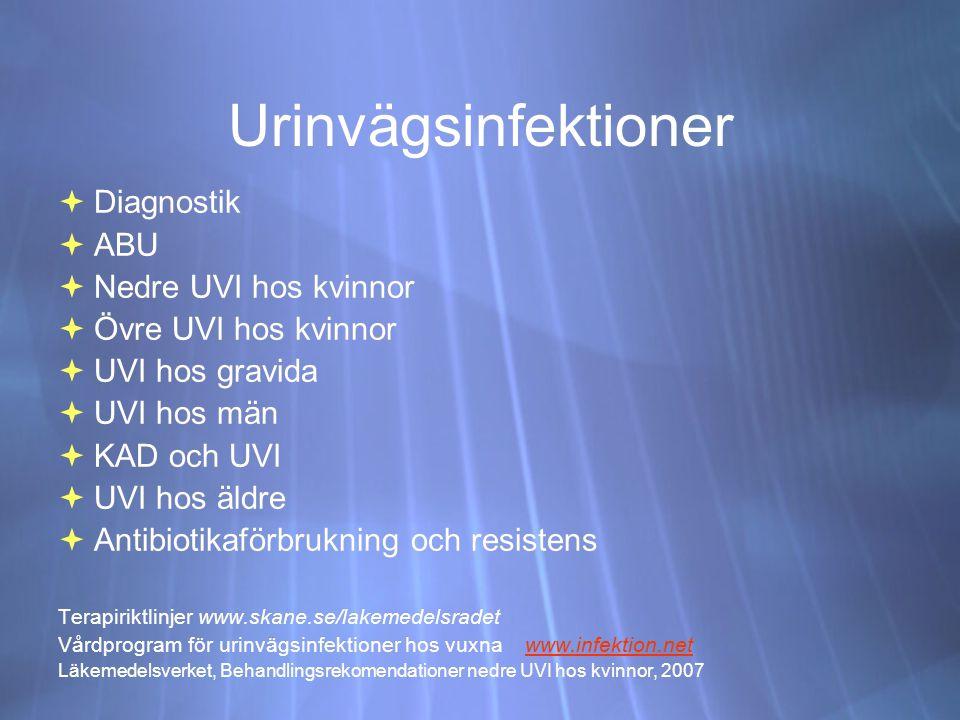 Urinvägsinfektioner Diagnostik ABU Nedre UVI hos kvinnor