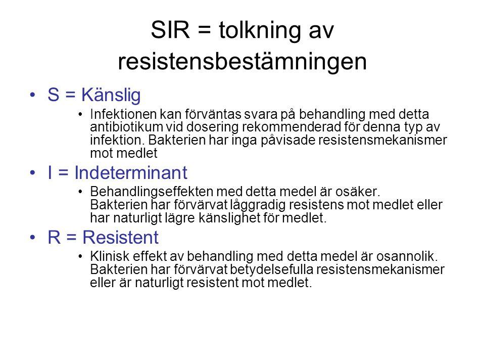SIR = tolkning av resistensbestämningen