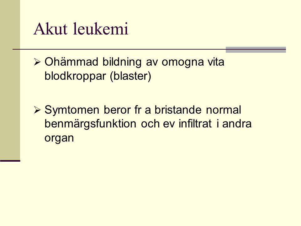 Akut leukemi Ohämmad bildning av omogna vita blodkroppar (blaster)