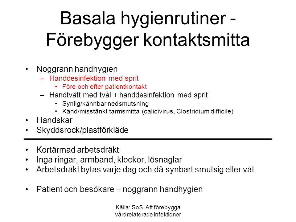 Basala hygienrutiner - Förebygger kontaktsmitta