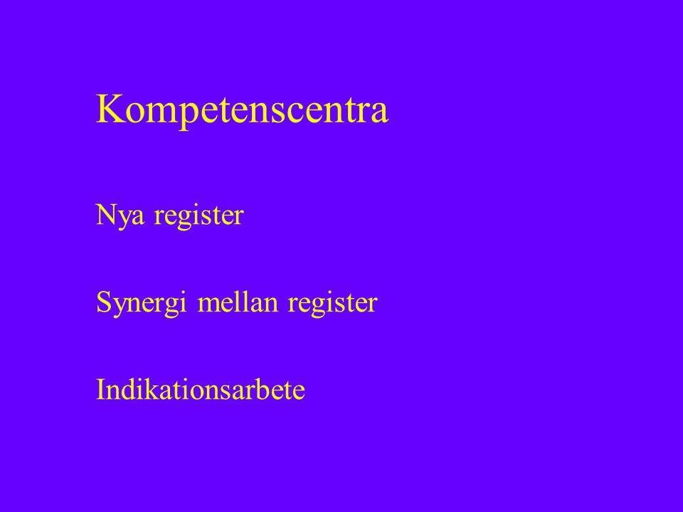 Nya register Synergi mellan register Indikationsarbete