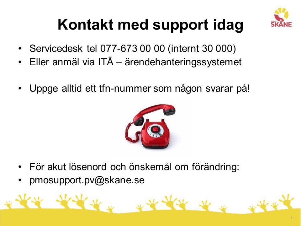 Kontakt med support idag