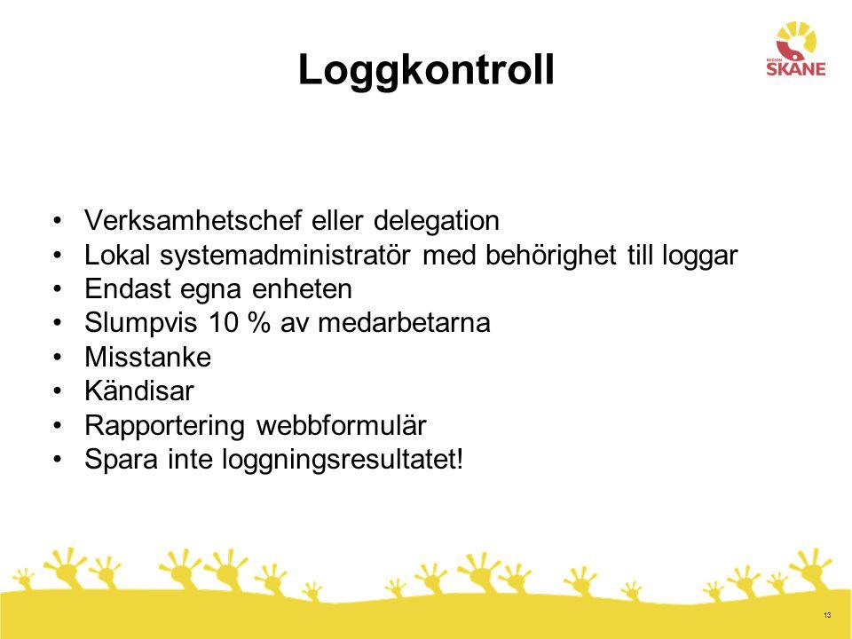 Loggkontroll Verksamhetschef eller delegation