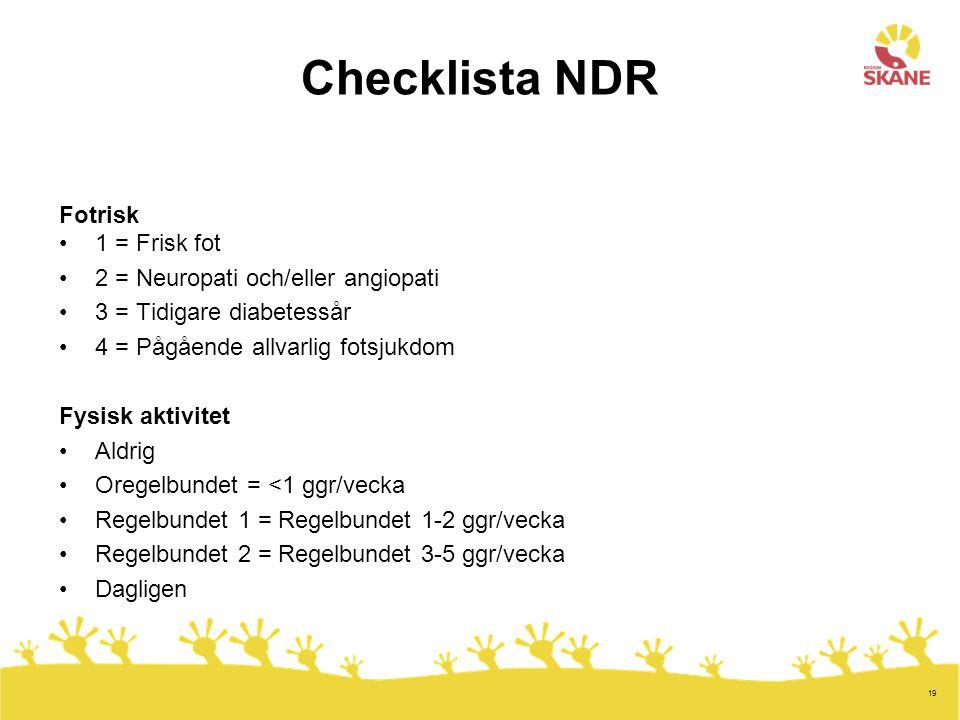Checklista NDR Fotrisk 1 = Frisk fot 2 = Neuropati och/eller angiopati