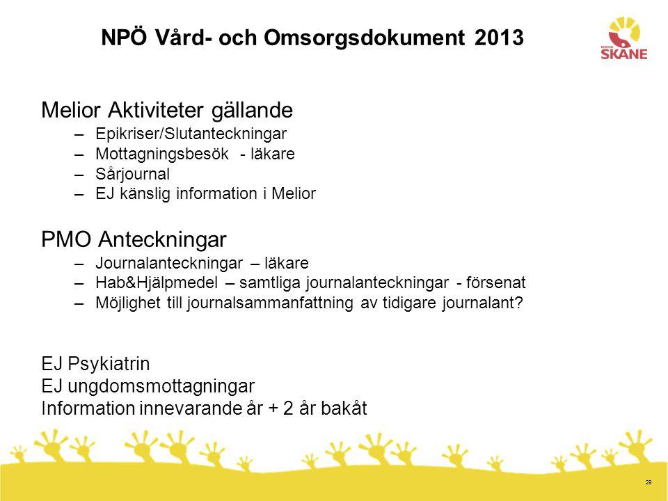 NPÖ Vård- och Omsorgsdokument 2013