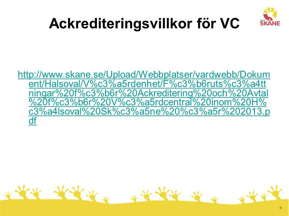 Ackrediteringsvillkor för VC