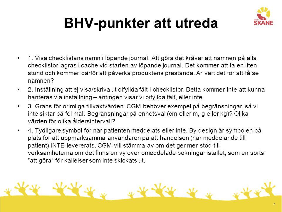 BHV-punkter att utreda