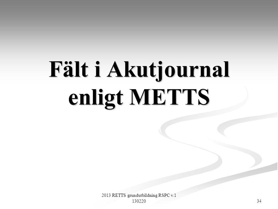 Fält i Akutjournal enligt METTS