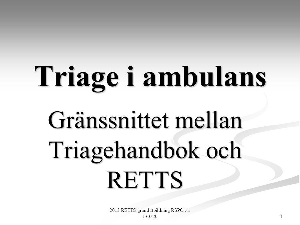 Gränssnittet mellan Triagehandbok och RETTS