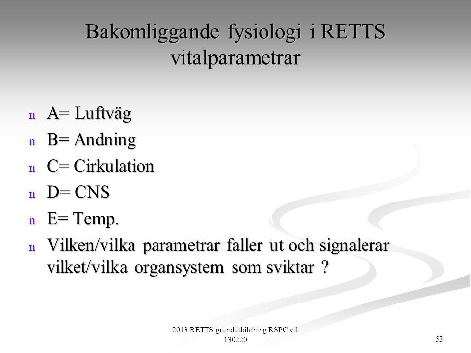 Bakomliggande fysiologi i RETTS vitalparametrar